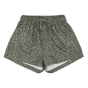 Khaki leopard swim shorts