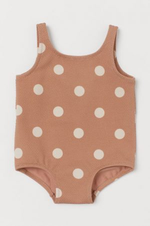 Polka dot textured baby swimsuit