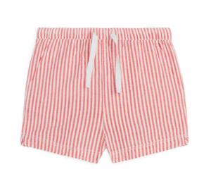 Red stripe seersucker shorts