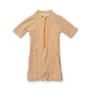 Seersucker striped baby all in one swimsuit