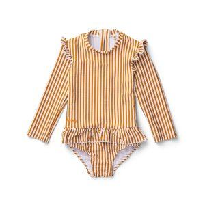 Striped seersucker long sleeve swimsuit