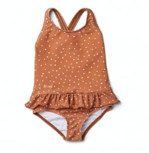 Terracotta polka dot baby swimsuit