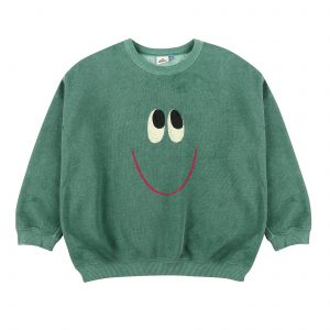 Green terry towelling smile sweatshirt