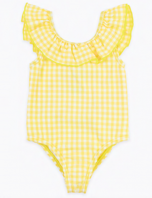 Yellow gingham frill baby swimsuit