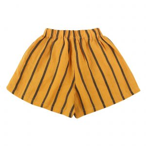 Yellow striped culotte shorts