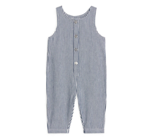 Baby blue and white striped dungarees