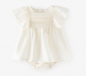 Ecru lace baby dress