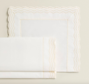 Embroidered scallop edge cot sheets
