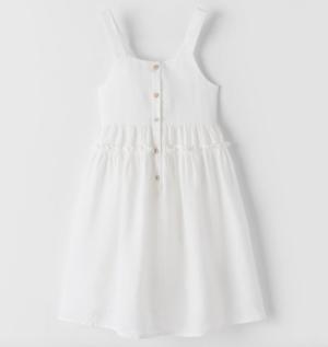 Kids white linen midi dress
