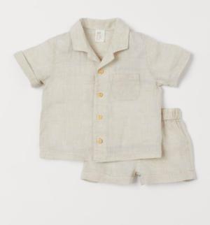 baby linen shirt and shorts set