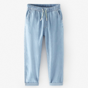 Loose-fitting bleach wash jeans