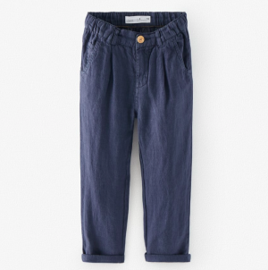 Navy linen slouchy trousers
