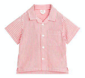 Red striped seersucker baby shirt