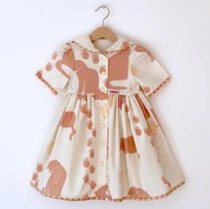 Vintage cat print sailor collar dress