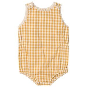 Yellow gingham romper