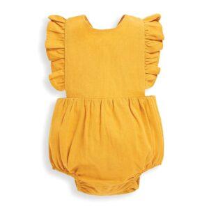 Yellow linen baby romper