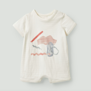 Abstract print organic cotton babygrow