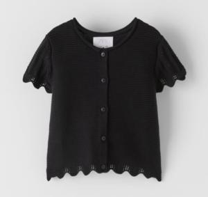 Black crochet knit top