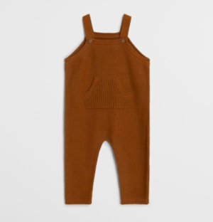 Brown knit baby dungarees