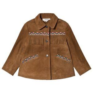 Brown suede fringe embroidered jacket