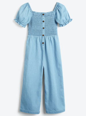 Denim shirred jumpsuit