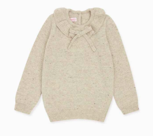 Beige knit girls jumper with bow collar