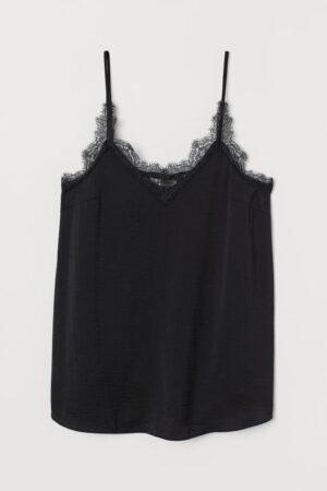 Black lace trim maternity cami