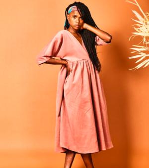 Blush corduroy dress