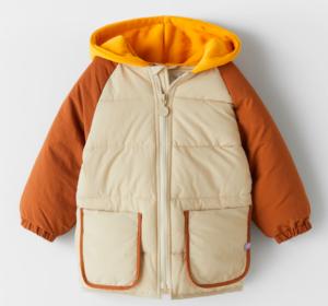Contrast puffer jacket