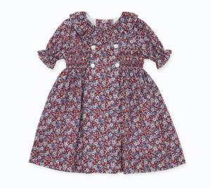 Burgundy floral smock dress