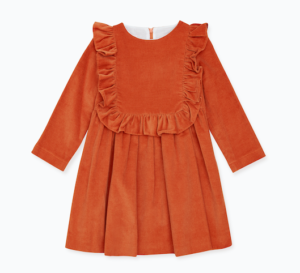 Burnt orange frill dress