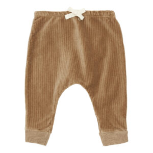 Camel velvet cotton baby trousers