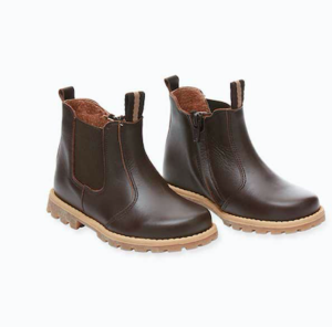 Kids chocolate brown leather chelsea boots
