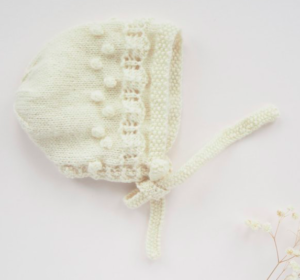 Cream knitted newborn baby bonnet