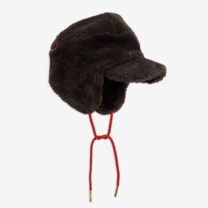 Faux fur kids brown cap