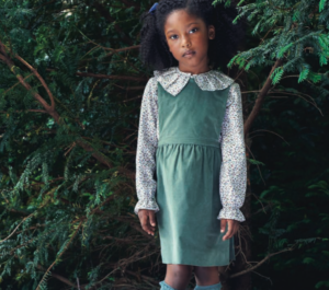 Green girls pinafore skirt