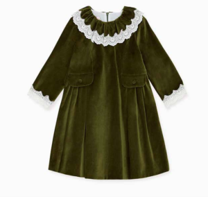 Green velvet girls dress