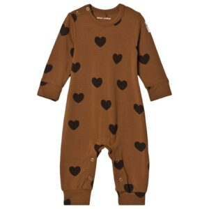 Brown heart print romper
