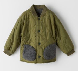 khaki reversible quilted jacket