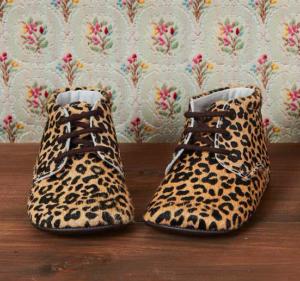 Leopard pram booties