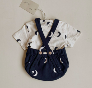 Midnight moon print romper set