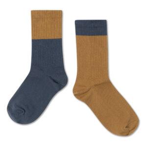 Tan and navy socks