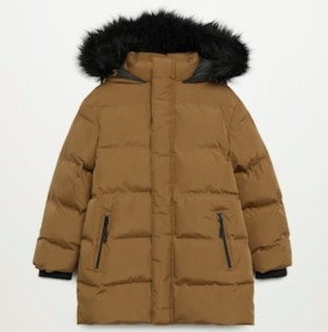 Ochre faux fur hood quilted boys coat