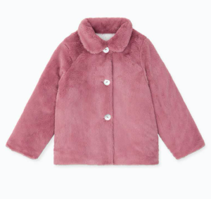 Girls pink faux fur jacket