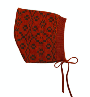 Red patterned knit baby bonnet