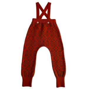 Red patterned knit baby pants