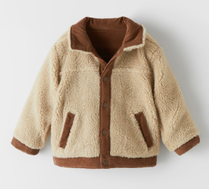 Faux shearling reversible kids jacket