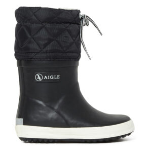 Black fur-lined kids rain boots
