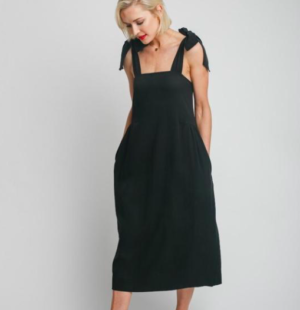 Black bow tie maternity dress