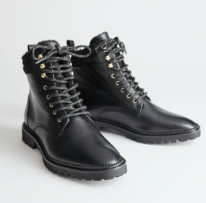 Black leather lace up boots
